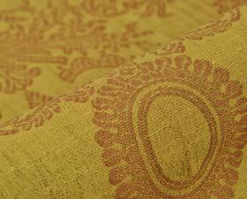 Tournelle - Yellow Gold (5) - Light red ornate floral and circle designs patterning mustard yellow coloured polyester and viscose blend fabr