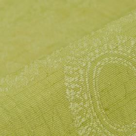 Tournelle - Green (6) - A very subtle ornate pattern in very pale green over an apple green coloured polyester-viscose blend fabric backgrou