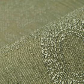Tournelle - Grey Green (10) - Dusky green and off-white coloured polyester and viscose blend fabric patterned with circles and ornate floral