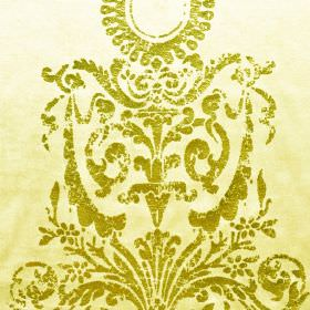 Alma - Beige Gold (2) - Pale yellow-cream coloured cotton, polyester and viscose blend fabric behind a patchy kiwi green patterned swirl des