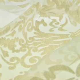 Trocadero - Cream (1) - Limestone coloured swirls and patterns printed over white polyester and viscose blend fabric with a translucent fini