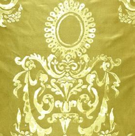 Tuileries - Brown Beige (2) - 100% silk fabric in olive green, with a patchily printed swirl, leaf and circle pattern in cream and yellow-gr