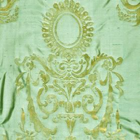 Tuileries - Brown Blue (3) - Mint and grass shades of green making up a patchy swirl, leaf and circle pattern on fabric made from 100% silk