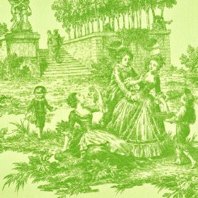 Tolbiac - Beige Green (1) - A lime green coloured outdoor scene of people, children, stairs, trees and statues on light yellow 100% cotton f