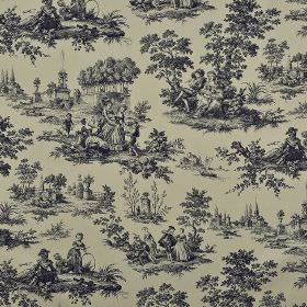 Tolbiac - Beige Black (4) - Dark blue-black drawings of people and trees in outdoor scenes printed repeatedly on mid-grey coloured 100% cotton