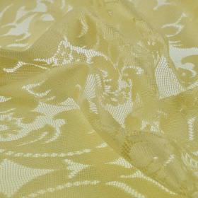Villette - Gold Geel (1) - Lace effect 100% polyester fabric with a floral design in a plain olive green-yellow colour