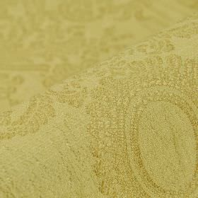 Tournelle - Beige Gold (1) - An ornate pattern covering polyester and viscose blend fabric inapple green with a subtle light yellow tinge