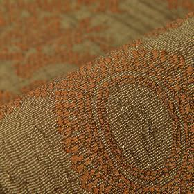 Tournelle - Brown1 - Chocolate brown and cream striped polyester and viscose blend fabric patterned with an ornate burnt orange design