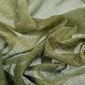 Vasa - Green (6) - Linen and polyester blend fabric woven from a combination of forest green and light cream coloured threads