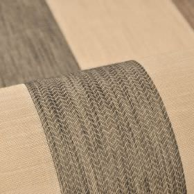 Ikast - Beige Brown Black (3) - Zigzag patterned and plain stripes running down 100% Trevira CS fabric in dark grey-brown and light cream-br