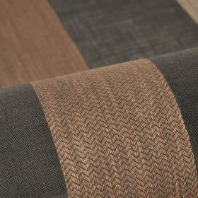 Ikast - Black Beige Brown (4) - Very dark grey 100% Trevira CS fabric printed with stripes in chocolate brown which feature a very thin zigz
