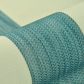 Ikast - Blue White - Seafoam coloured stripes between zigzag patterned turquoise coloured bands on fabric made from 100% Trevira CS