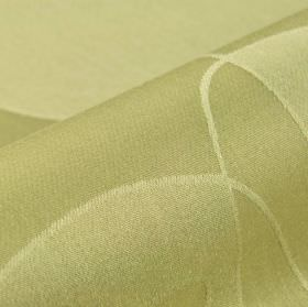 Nybro - Beige (2) - Curving lines and blocks of colour patterning polyester and viscose blend fabric in light yellow and green-grey