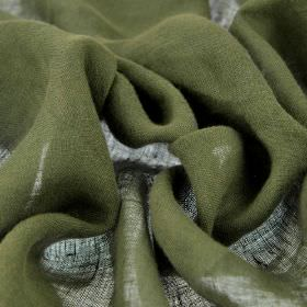 Linne - Green (7) - Plain Army green coloured fabric made entirely from linen