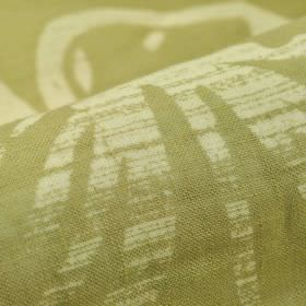 Tornio - Green (2) - An unevenly printed streak & line pattern printed in cream on an olive green-grey coloured 100% linen fabric background
