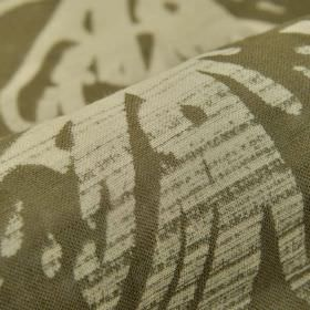 Tornio - Brown (4) - 100% linen fabric made in dark grey-brown, printed roughly with an uneven streaky line design