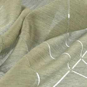 Stens - Beige - Fabric made from subtly streaked, iron grey coloured cotton, polyester and viscose, patterned with transparent, thin lines