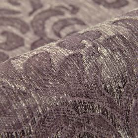 Dorado - Purple (4) - Purple and off-white coloured linen and polyester blend fabric featuring a subtle design of large leafy style patterns