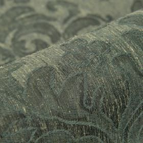 Dorado - Blue (6) - Fabric made from linen and polyester in blue-grey and cream, featuring a large, subtle, leaf style pattern