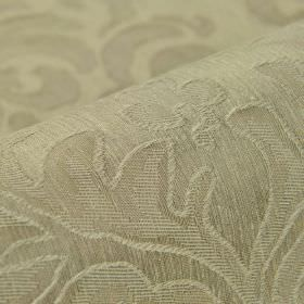 Dorado - Beige - Fabric made from linen and polyester with a large, subtle, leaf style pattern in a light shade of beige