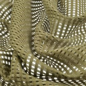 Somera - Brown (3) - Thick net style fabric made from a khaki coloured blend of linen and polyester