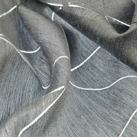 Stens - Grey (4) - Transparent white lines running across a subtly striped, deep grey coloured cotton, polyester and viscose blend fabric