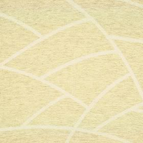 Greve - Cream Beige (2) - Pale yellow linen and polyester blend fabric which has been flecked with grey and patterned with curving white lin
