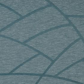 Greve - Blue (5) - Lines printed in a dusky blue coloured curved design over linen and polyester blend fabric flecked with blue and white
