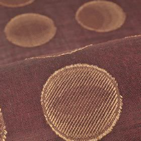 Marstal - Purple - Striped copper-cream coloured circles arranged in neat rows over 100% Trevira CS fabric in a deep plum-grey colour