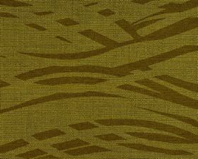 Hobro - Green (2) - Dark forest green coloured broken wavy lines printed on Army green coloured cotton, polyester and viscose blend fabric