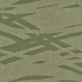 Hobro - Brown (4) - Broken wavy lines printed in dark grey in a simple pattern on fabric made from cotton, polyester and viscose in grey-cream