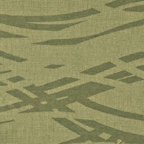 Hobro - Brown (5) - Green-cream cotton, polyester and viscose blend fabric, printed with a simple broken wavy line pattern in iron grey