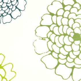 Maranza - Cream Green (3) - Outlines of large florals printed in grass green, lime green and marine blue on white polyester and viscose blen