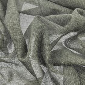 Vasa - Grey (4) - Very thin iron grey linen and polyester blend fabric featuring thin, subtle lines and streaks in darker & lighter shades