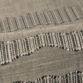 Tonder CS - Grey (3) - Black and off-white lines creating a textured, uneven stripe pattern on 100% Trevira CS fabric in light grey-white