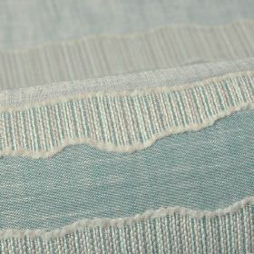 Tonder CS - Blue (5) - Duck egg blue coloured 100% Trevira CS fabric patterned with textured, uneven stripes made up of thin off-white lines