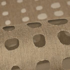 Skave - Beige (2) - Translucent dots arranged in neat rows across cotton, polyester and viscose blend fabric in a dark shade of taupe