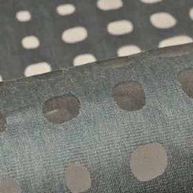 Skave - Blue (3) - Gunmetal grey coloured cotton, polyester and viscose blend fabric, patterned with rows of translucent irregular dots