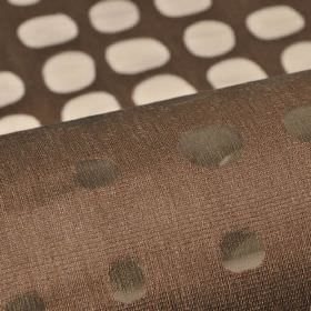 Skave - Brown (4) - Cotton, polyester and viscose blend fabric in rich brown, with a translucent pattern of neat rows of irregular shaped dots