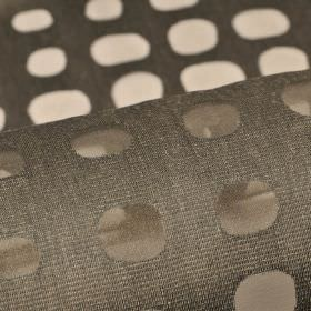 Skave - Grey (5) - Rows of irregular shaped dots making a translucent pattern over dark brown-grey cotton, polyester and viscose blend fabric