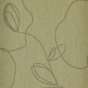 Viborg - Brown (2) - Pale green-grey fabric made from polyester and viscose behind a random, irregular scrawling line design ina darker gre