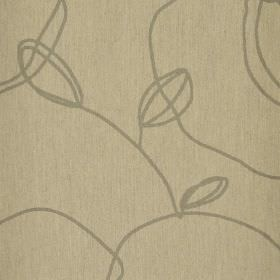 Viborg - Beige (4) - Scrawling grey lines creating a simple, stylised leaf pattern on light brown fabric made from polyester and viscose