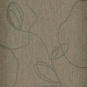 Viborg - Brown (5) - Polyester and viscose blend fabric in dark brown, with a random, scrawling, stylised leaf pattern made bygrey lines