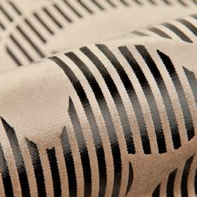 Antarc - Brown Black (5) - Black and warm cream coloured cotton, polyester and viscose blend fabric, with a striking metallic stripe design