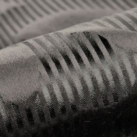 Antarc - Black (6) - Cotton, polyester and viscose blend fabric with a striking, slightly shiny stripe design in 2 dark shades of gunmetal gre