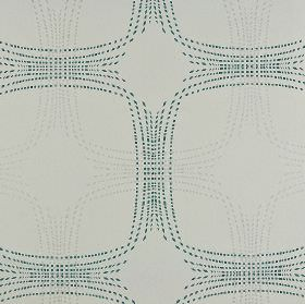 Infra - Cream Blue Silver (2) - Overlapping squares with curved edges created by grey and teal dots on a pale grey cotton and viscose fabric