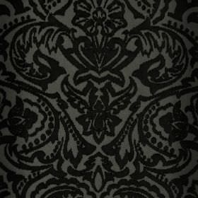 Vertino - Black (60) - Striking black ornate floral, leaf and dot designs against a very dark grey coloured 100% polyester fabric background