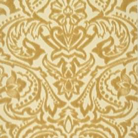 Vertino - Beige (61) - Golden orange and cream coloured 100% polyester fabric featuring a large, striking, ornate floral, leaf and dot desig