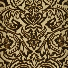 Vertino - Beige Brown (62) - 100% polyester fabric patterned with a large, striking, ornate floral, leaf and dot pattern in cream and very d