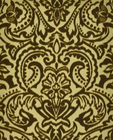 Vertino - Beige Brown2 - Fabric made from very dark brown and light yellow coloured 100% polyester, with a large, ornate floral, leaf and dot pa